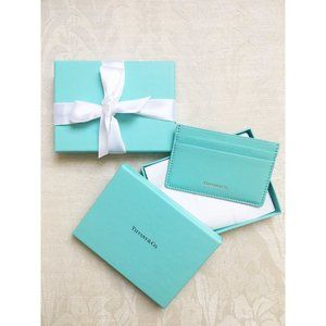 Tiffany & Co Credit Card Case Holder Blue Leather